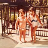 Kim shared an adorable swimsuit shot of herelf with Kourtney. Source: Instagram user kimkardashian