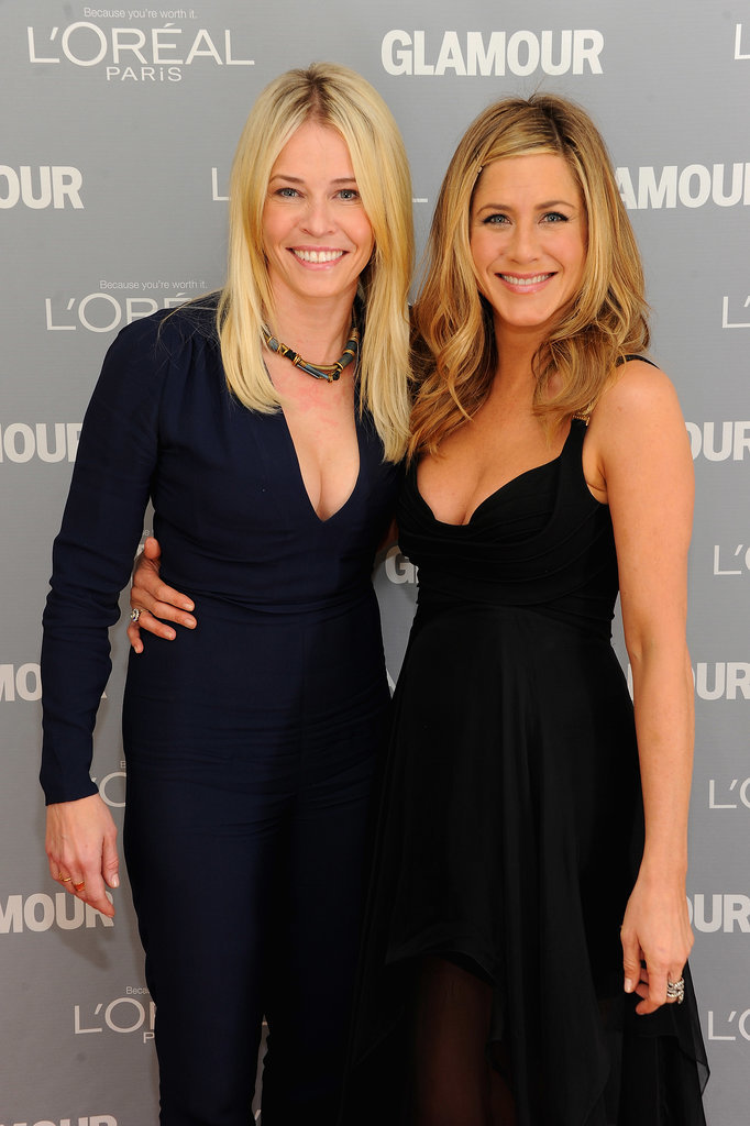 Jen was on hand to present her longtime friend Chelsea Handler with a Glamour woman of the year award at the November 2011 ceremony in NYC.