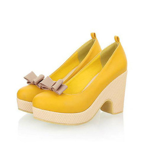 Image of [grxjy5190355]Sweet Pink Yellow Bowknot Ankle Strap Platform High Wedge Heel Shoes