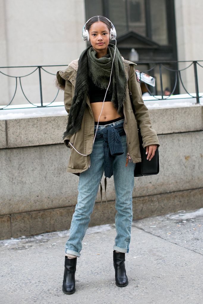 If you've got it, flaunt it — even if that means a crop top in the middle of February.