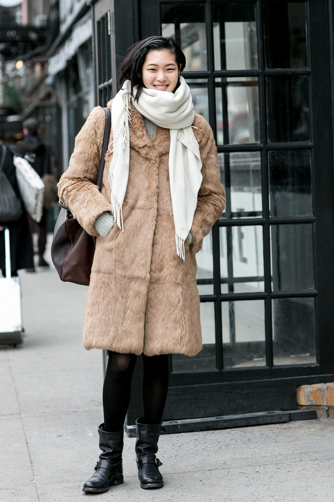 Right On Par For Model Street Style More Fur And Biker Boots The Nyfw Model Moments You Didn
