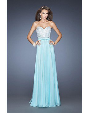 Prom Dress Sweetheart A Line Chiffon Beaded Ribbon Mint