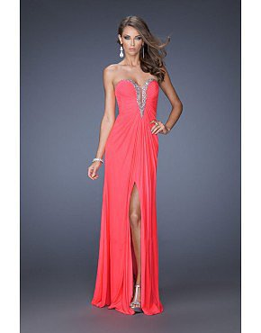 Prom Dress Sweetheart Column Ruffled Chiffon Slit Watermelon