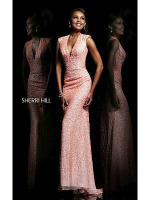 Peach Sherri Hill 8529 Long Prom Gown