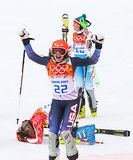Gold, silver, and bronze medalists Maria Hoefl-Riesch of Germany, Nicole Hosp of Austria, and Julia Mancuso of Team USA celebrated after the alpine skiing women's super combined slalom event.