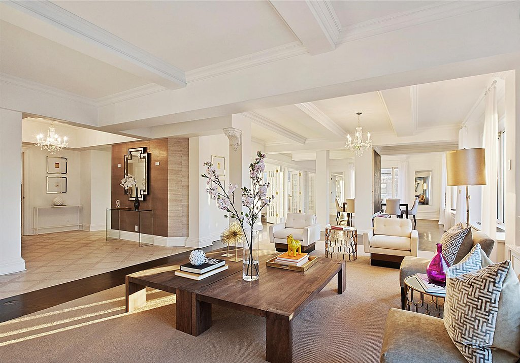 The large foyer opens up to a polished yet cozy sitting room. Source: Douglas Elliman Real Estate
