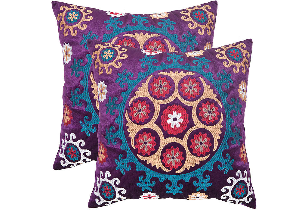 The design of these gorgeous pillows ($85-$89, originally $160-$170) was inspired by the needlework of Uzbek textiles. We love how eye-catching the blue and fuchsia embroidery will look against any couch.