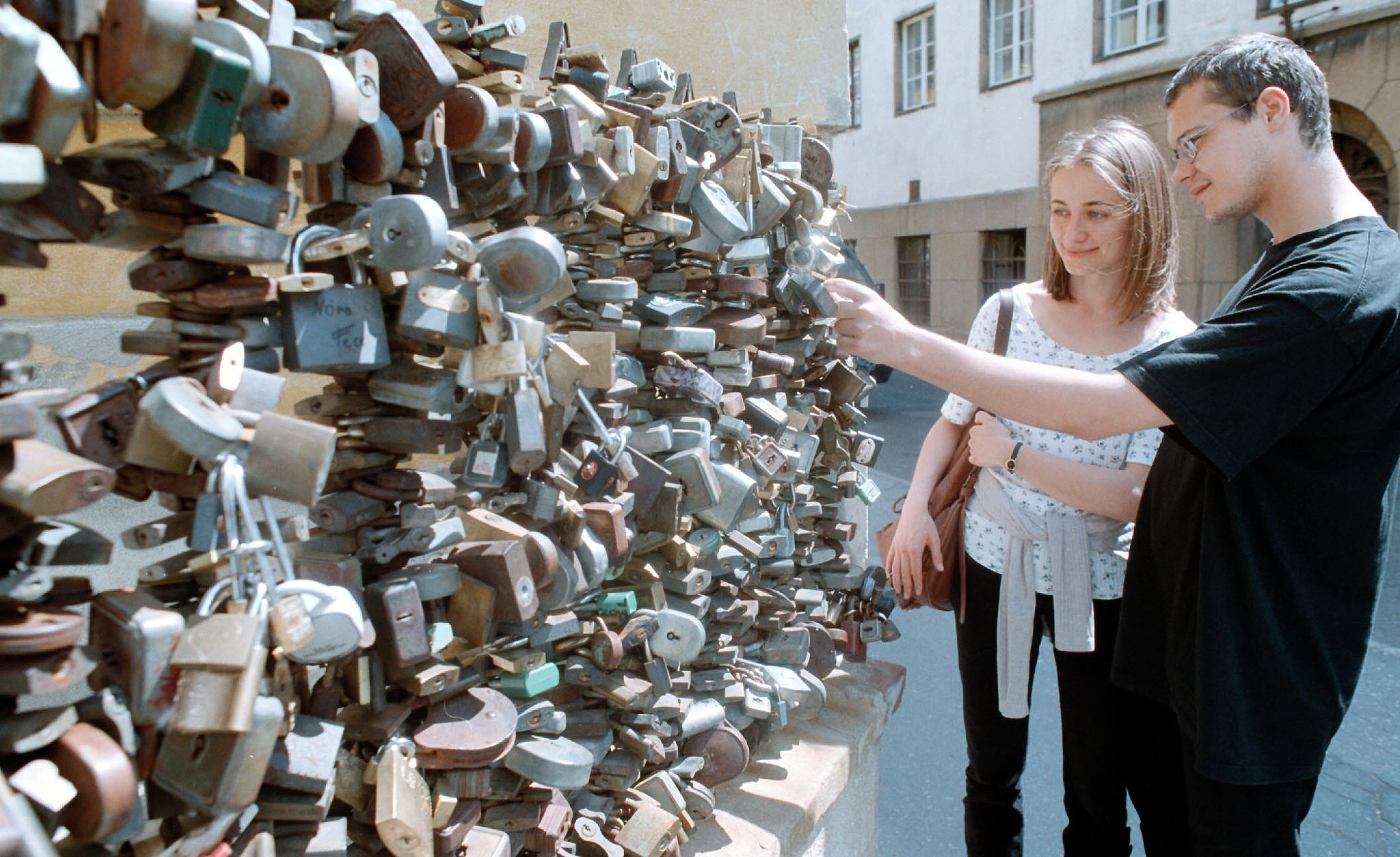 Love locks in Pecs, south of Budapest, Hungary.
