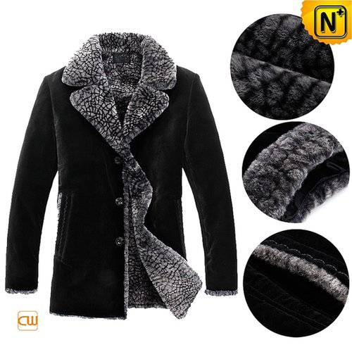 Black Sheepskin Shearling Coat Men CW877237