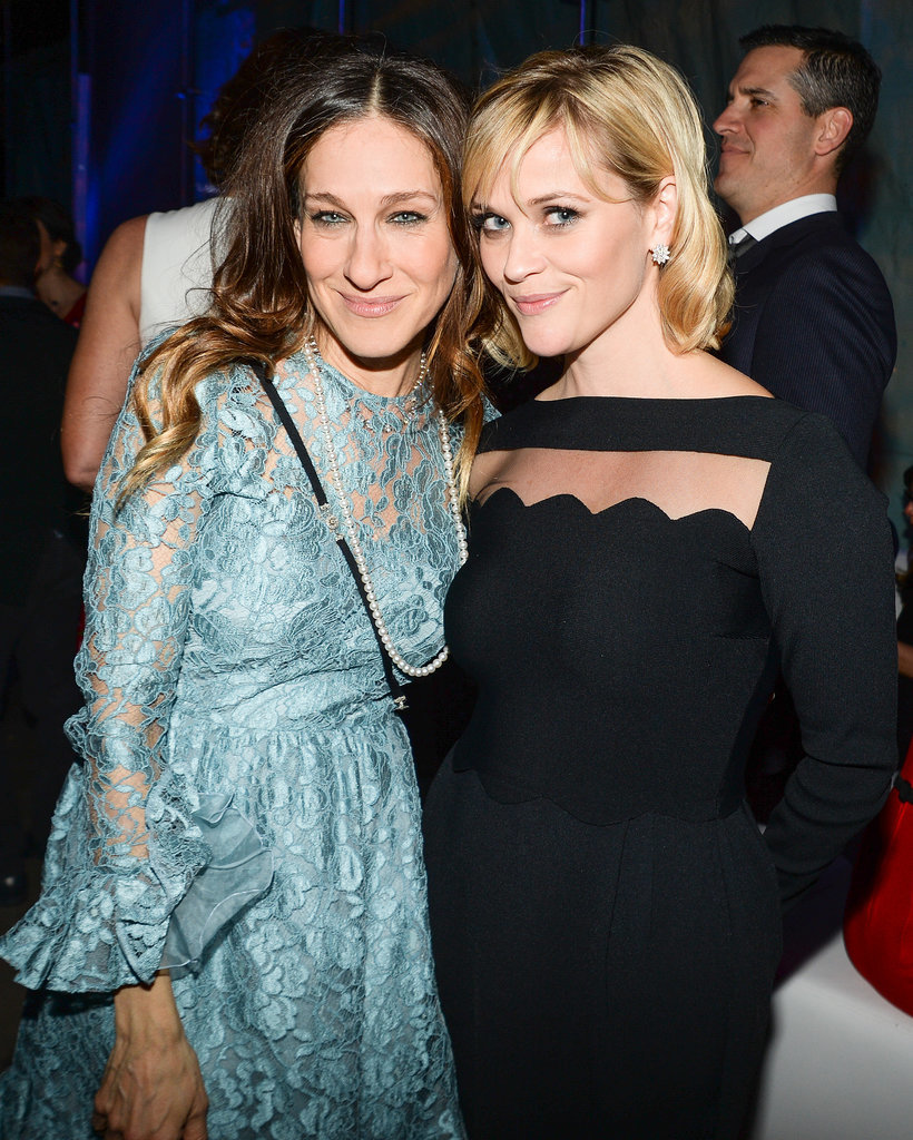 Reese Witherspoon mingled with Sarah Jessica Parker, who wore Mikimoto pearls.