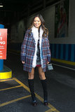 Aimee Song layered up shearling and houndstooth.  Source: Melodie Jeng/The NYC Streets