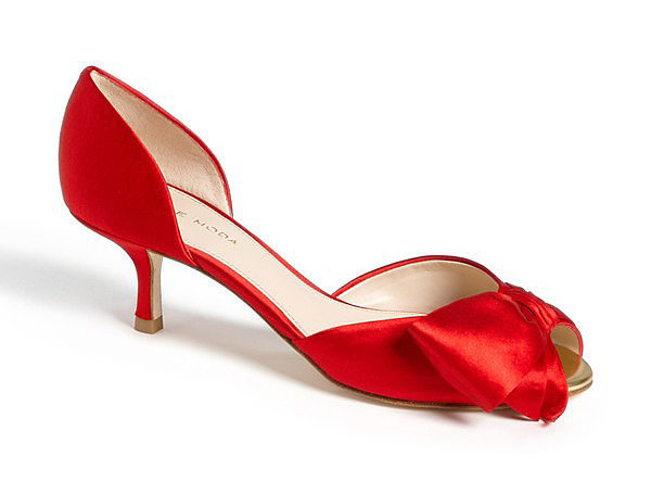 Pelle Moda Belle red satin peep-toe kitten heels ($140)