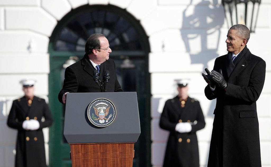 Then President Hollande spoke, and President Obama applauded.