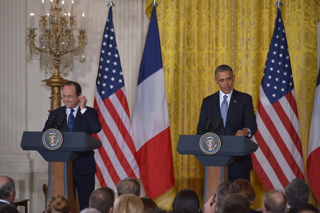 Next up was a press conference, where it was Hollande's turn to laugh.