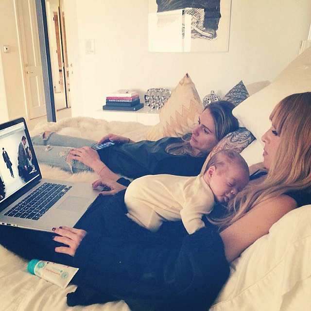 Rachel Zoe shared an adorable photo of herself streaming a fashion show online with her newborn son, Kaius Jagger, sleeping on her chest. Source: Instagram user rachelzoe