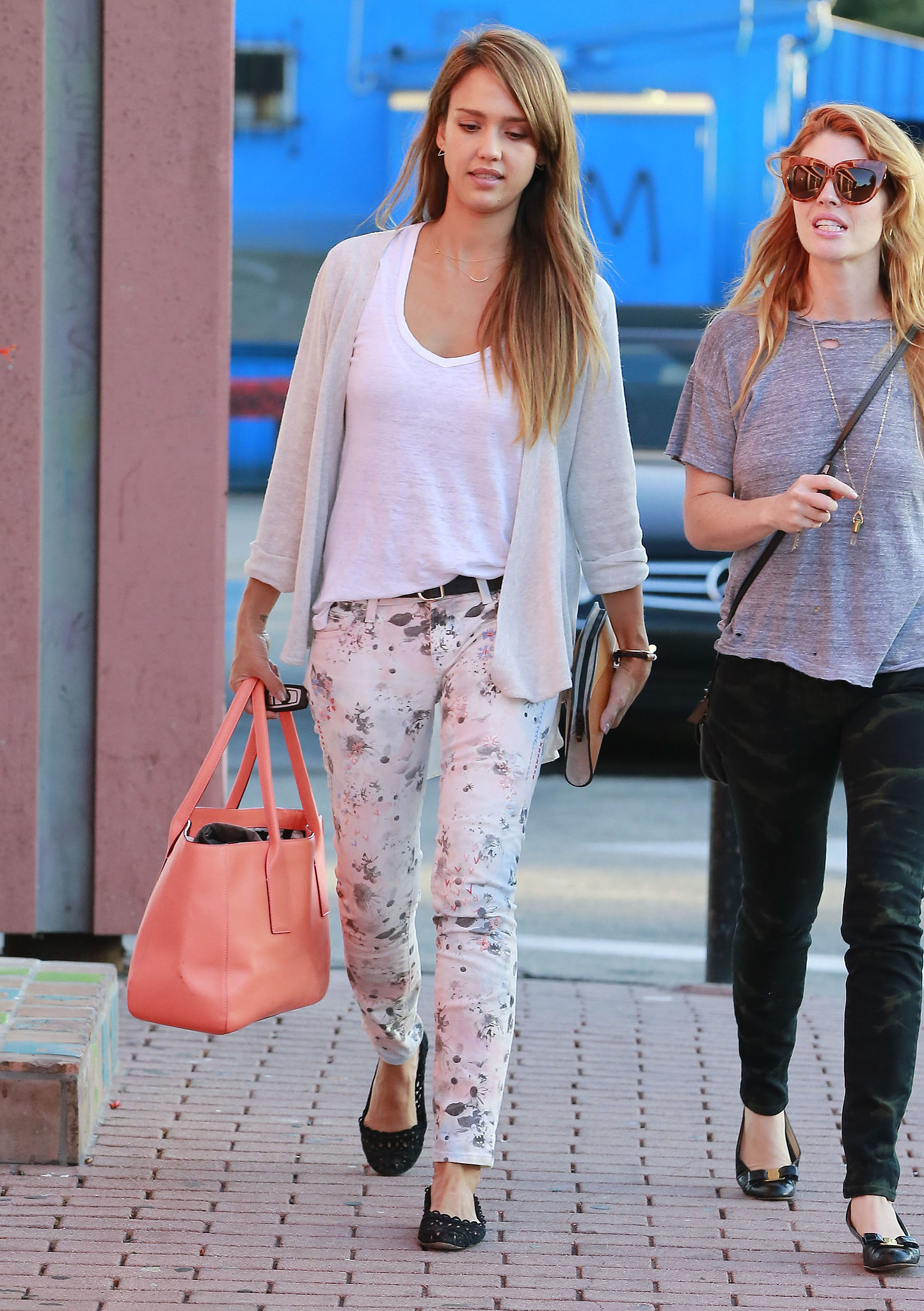 While on her way to a birthday party, Jessica blossomed in floral Textile Elizabeth and James denim.