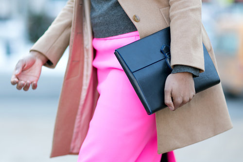 A portfolio clutch is always a chic accompaniment.
