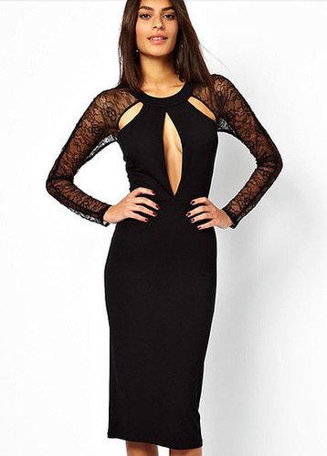 Long Sleeve Cutout Back Dress with Slit