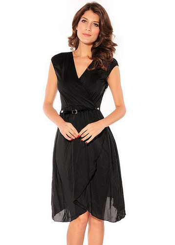 High Waist V-Neck Dress with Lace
