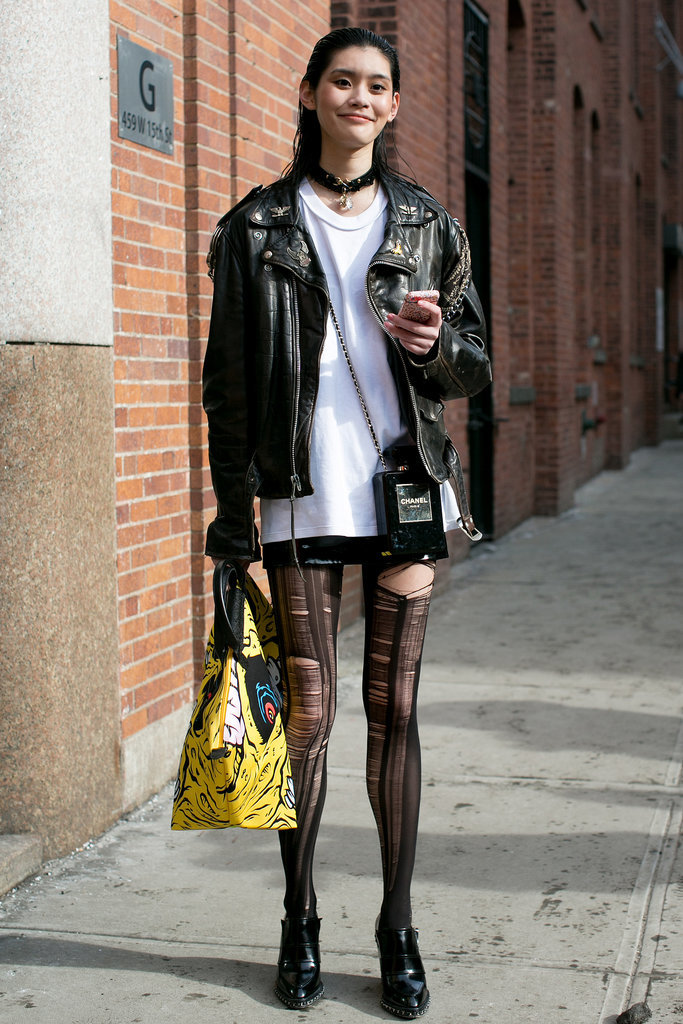 She took the alternative style route in slashed tights.