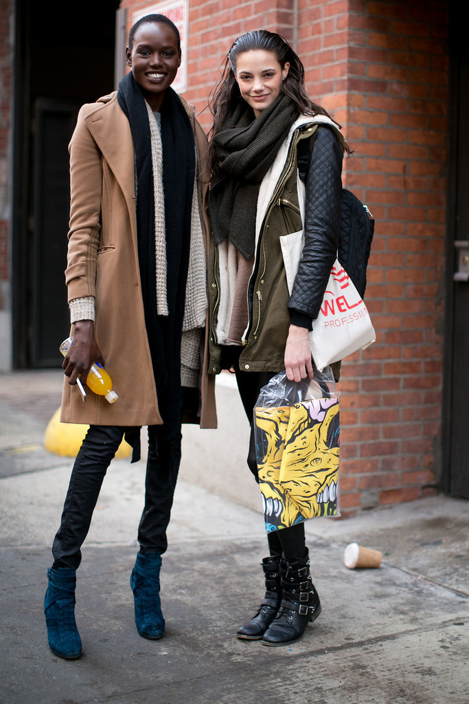 These girls kept it cool with a camel coat and leather-sleeved anorak, respectively.