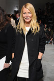 Gwyneth Paltrow went with a black and white ensemble for the Boss Women runway show on Wednesday.