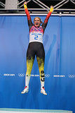 Gold medalist Natalie Geisenberger of Germany jumped for joy after winning the women's luge singles event.