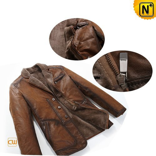 Shearling Lined Mens Leather Coat CW819075