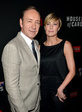 Robin Wright and Kevin Spacey met up at the House of Cards premiere in LA on Thursday.