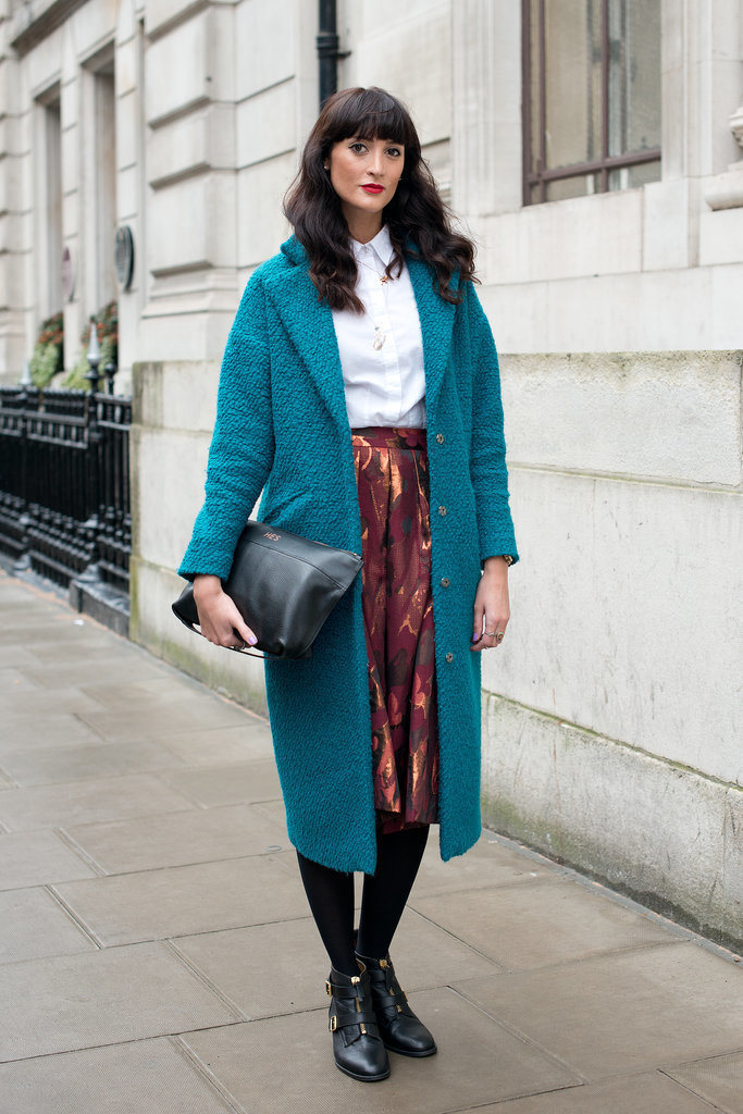 If you're going to be stuck in outerwear all day, make sure it's going to make an impression. This beautiful teal ASOS coat ticks all the boxes.