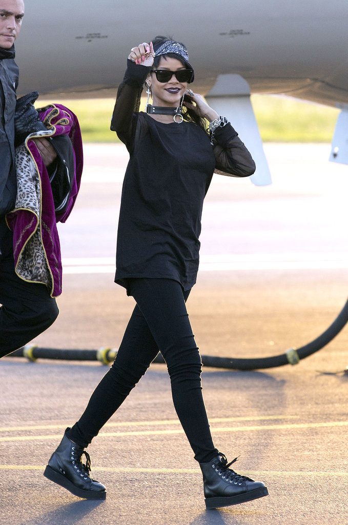 Rihanna was the definition of goth-glamour while touching down in Australia in September 2013.