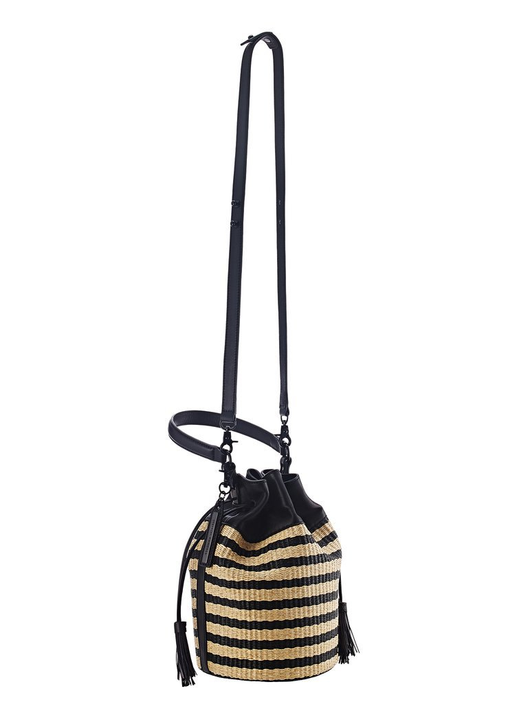 Loeffler Randall Striped Raffia Industry Mini Bucket Bag