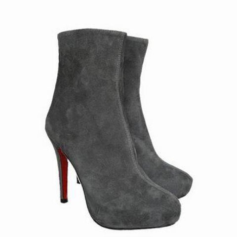 Christian Louboutin Ankle Boots Paris 100 Plum Suede Grey