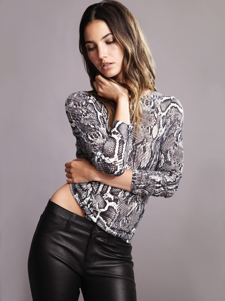 Lily Aldridge For Velvet Lisa Snake Print Top ($88) Source: Courtesy of Velvet