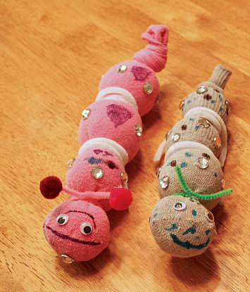 No-Sew Sock Caterpillars