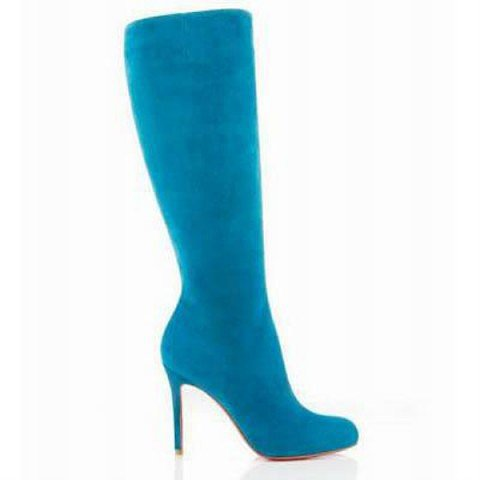 Christian Louboutin Simple Botta 100mm Suede Boots Blue