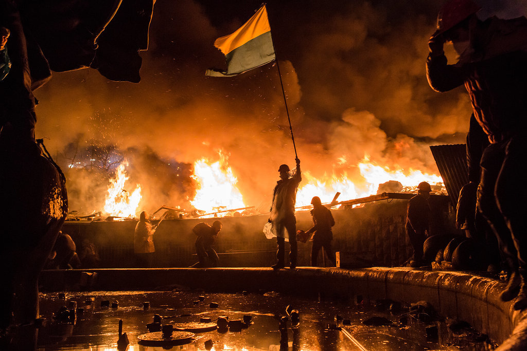Violence flared up in Kiev.
