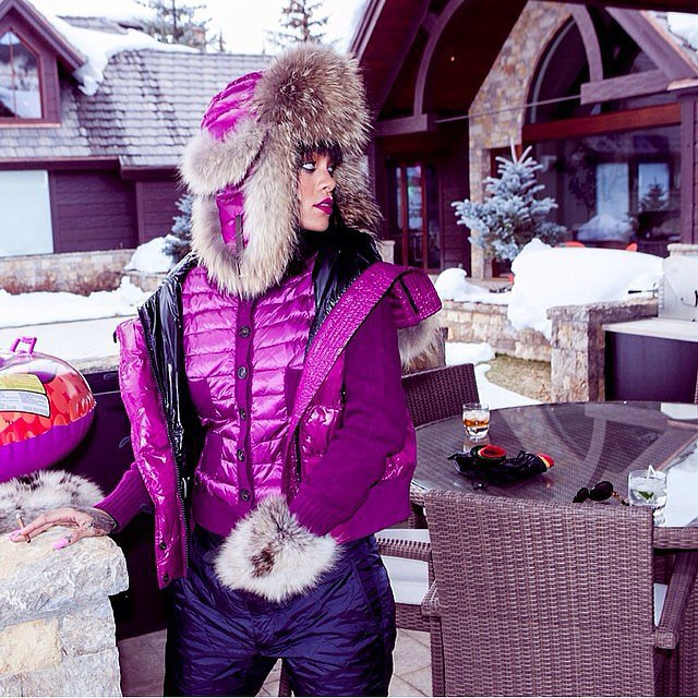 "Rihanna prepared to celebrate her birthday at a cabin, or as she puts it: ""#cabinlife #birthdayish."" Source: Instagram user badgalriri"