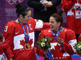 Gold medalists Caroline Oullette and Melodie Daoust of Canada's women's hockey team were overjoyed after defeating the United States three to two in overtime.
