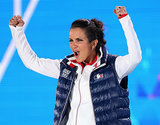 Marie Martinod was pumped after her winning a silver medal in the ski half-pipe.