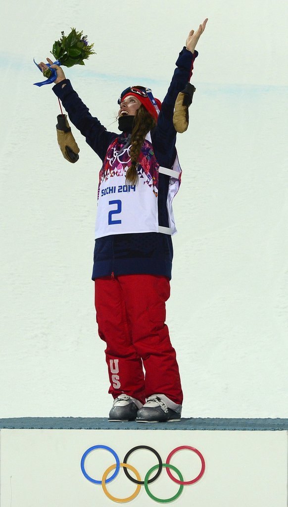 Maddie Bowman pointed toward the sky as a nod to Sarah Burke following her big win.