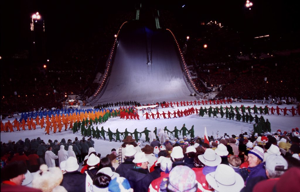 Performers made their way down a giant slope during the ceremony.