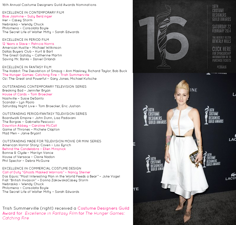 Trish Summerville Costume Designers Guild Awards Beverly Hills Hilton Hunger Games Catching Fire Winners List 2014 #CDGA16