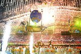 Lights, fireworks, and confetti filled the stadium at the end of the closing ceremony.