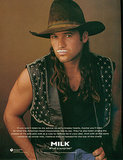 Miley Cyrus's dad, Billy Ray Cyrus, rocked a leather vest and long locks with his mustache.