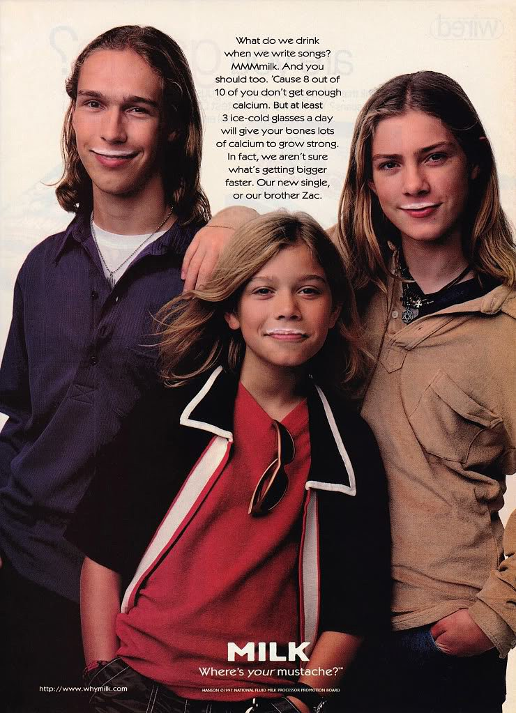"The Hanson brothers were featured during their ""MmBop"" days."