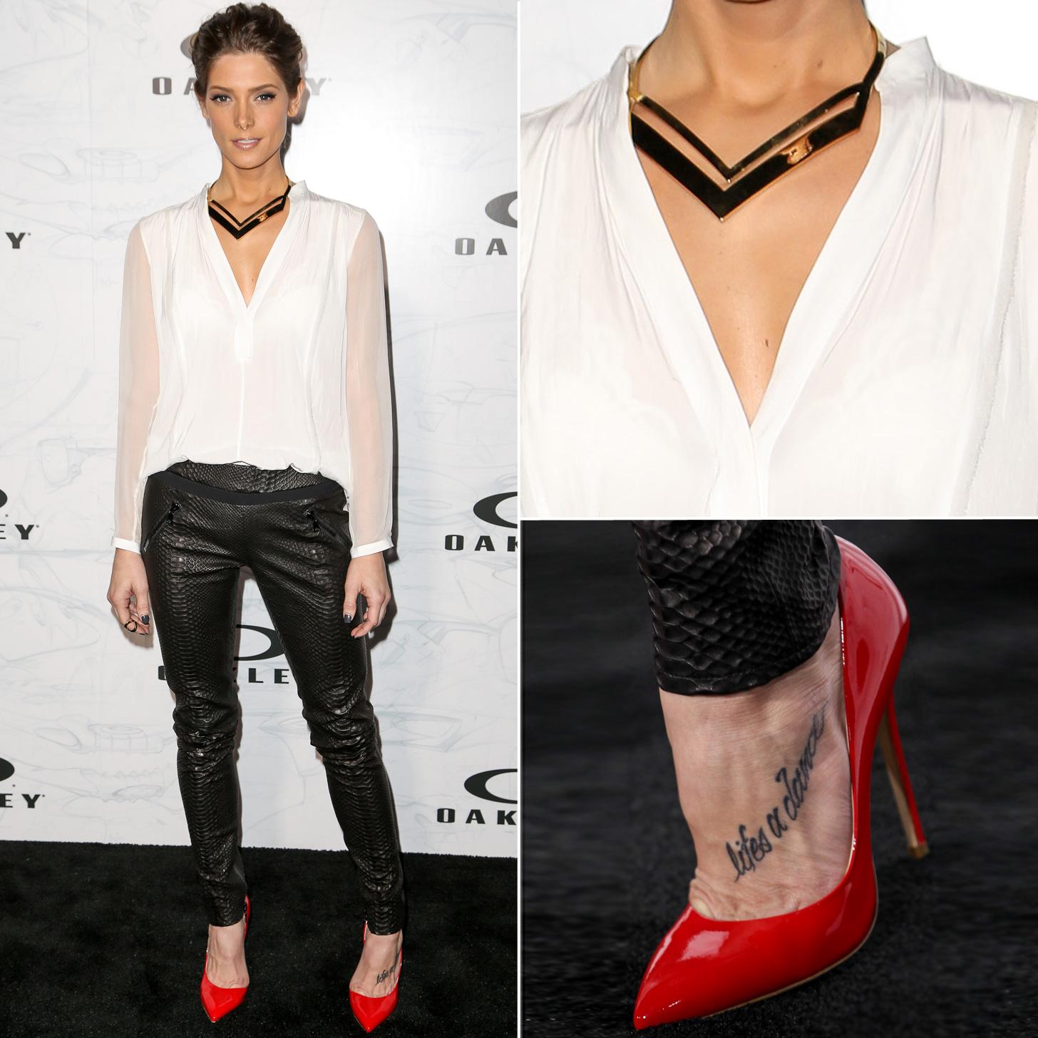 Ashley greene black snakeskin pants and white shirt outfit for White shirt black pants