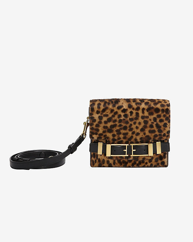 A.L.C. Davenport Double Buckle Leopard-Print Haircalf Clutch