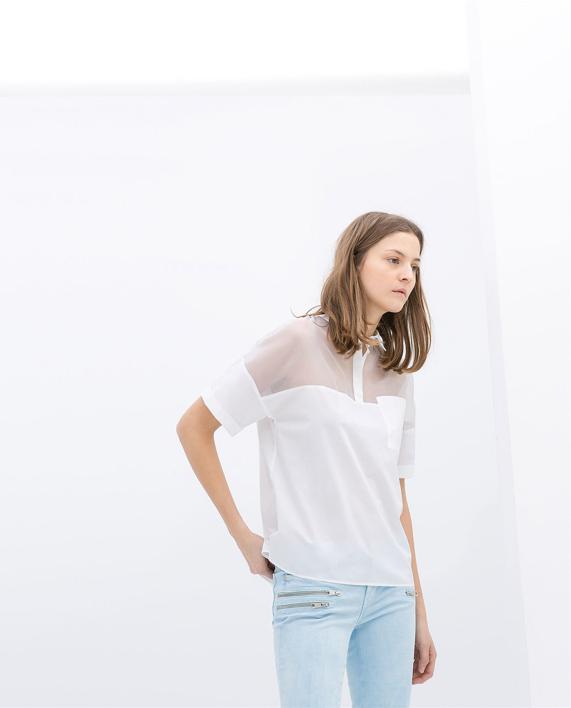 Zara White Sheer-Neck Organza Polo Shirt ($60)