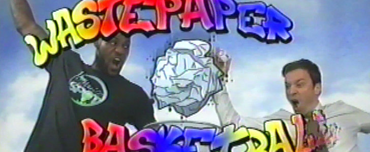 "LeBron James and Jimmy Fallon Go Back to the '90s for ""Wastepaper Basketball"""